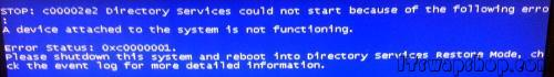 How to Fix C00002E2 Directory Services Could Not Start - Blue Screen 1